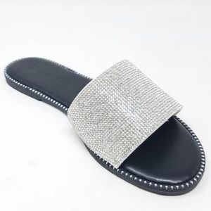 New Size 10 Only. White rhinestone sandals